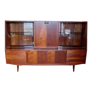 7 Ft. Mid-Century Danish Modern Teak Credenza Dry Bar Hutch For Sale