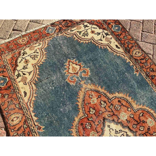 Textile Vintage Hand Knotted Turkish Area Rug For Sale - Image 7 of 10