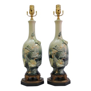 1960s Green Ombre Floral W/ Gold Highlights Table Lamps - a Pair For Sale