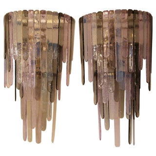 Pair of 2000s Murano Glass Sconces in the Style of Leucos