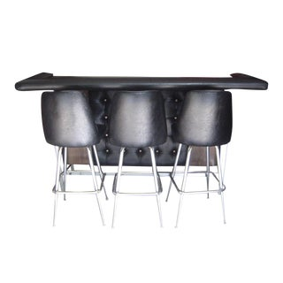 Mid-Century 1960s Square Tufted Bar & Stools - Set of 4 For Sale
