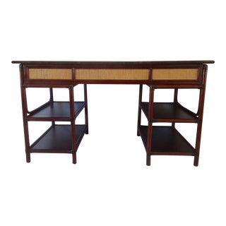 1970s British Colonial-Style Rattan Tobacco Leaf Top Writing Desk For Sale