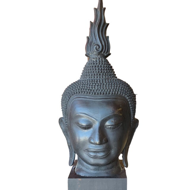 Late 19th Century Antique Monumental Bronze Thai Buddha Head For Sale - Image 12 of 12