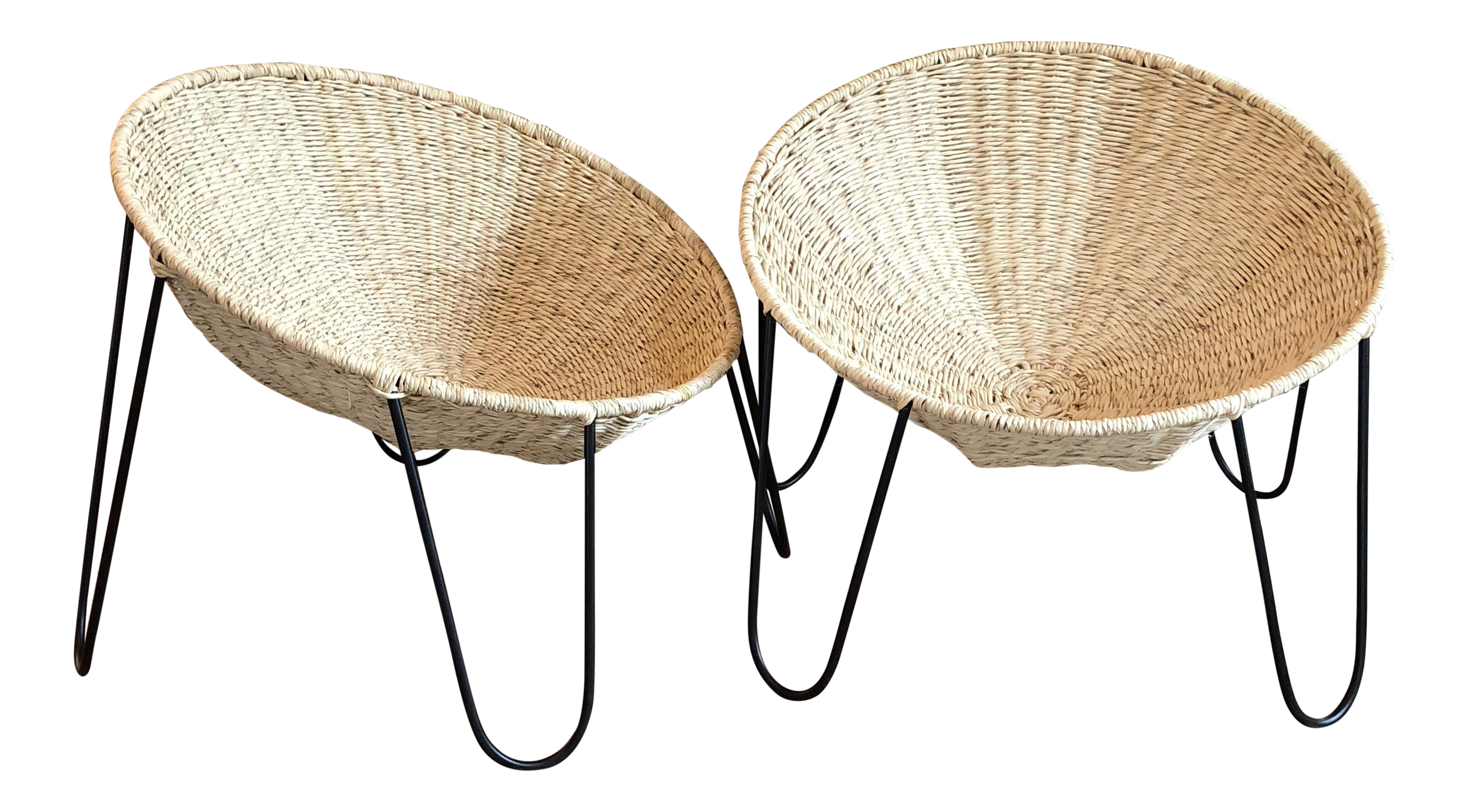 Woven metal furniture Outdoor Interior Design Homes Mexa Woven Palm Leaf And Metal Circle Lounge Chairs Pair Chairish