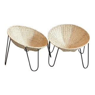 Mexa Woven Palm Leaf and Metal Circle Lounge Chairs - a Pair For Sale