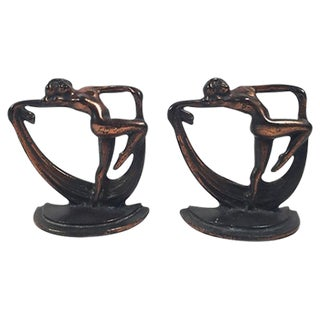 Crescent Art Deco Figural Bronze Bookends- A Pair For Sale