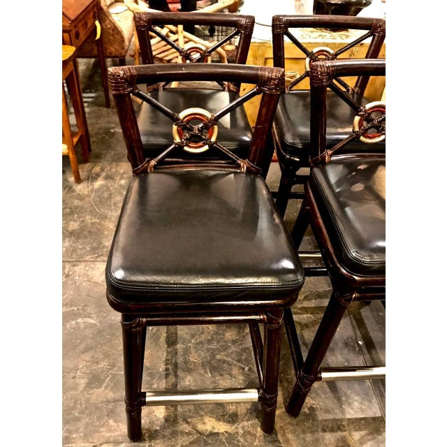 Boho Chic McGuire Bar Stools For Sale - Image 3 of 10