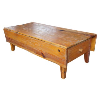 Country Arhaus Solid Pine Distressed Drop Leaf Coffee Table For Sale