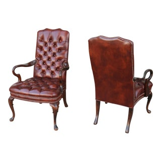 1980s Vintage Brown Leather Tufted Arm Chairs- a Pair For Sale