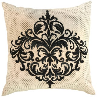 Perforated Ultra Suede Sand and Black Embroidered Decorative Pillow For Sale