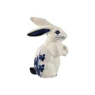 Vintage Blue and White Rabbit Figurine For Sale