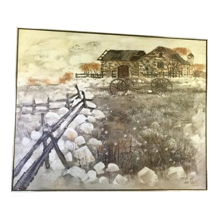 Late 20th Century Large Scale Lee Reynolds Homestead Oil Painting For Sale
