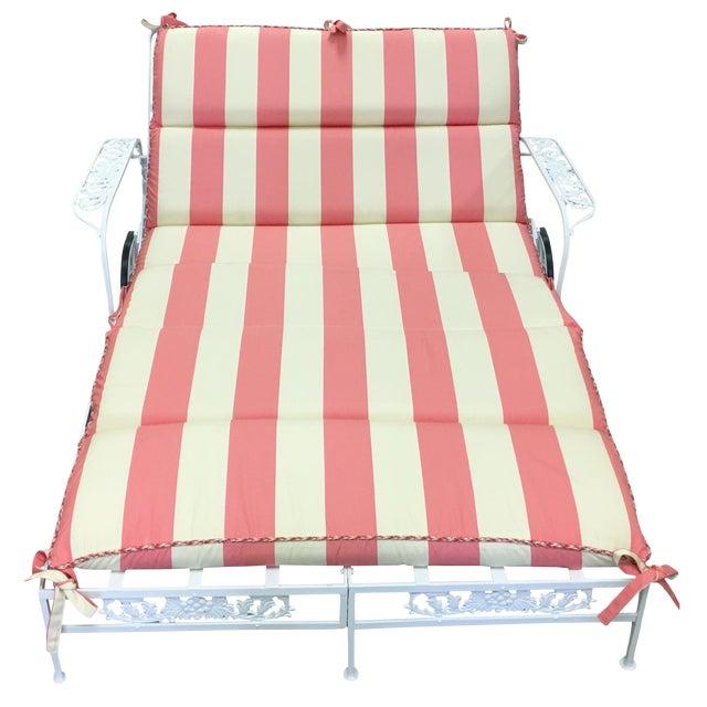 1950s Salterini White Wrought Iron Double Chaise Longue w/ Custom Cushion For Sale