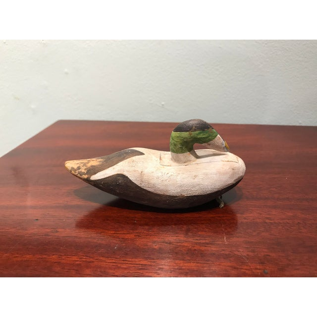 1980s 1980s Hand Carved and Hand Painted Wood Duck Decoy Signed For Sale - Image 5 of 5