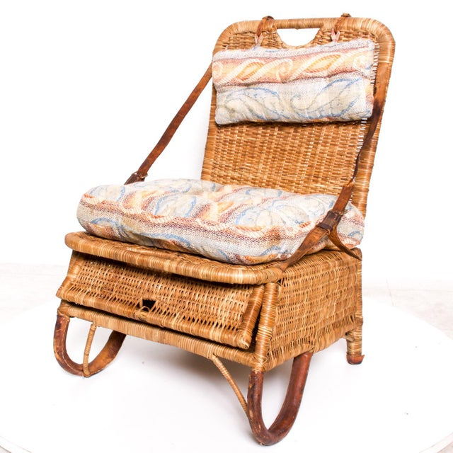 Boho Chic Mid Century Modern Rattan Leather Sculptural Portable Traveling Chair For Sale - Image 3 of 11