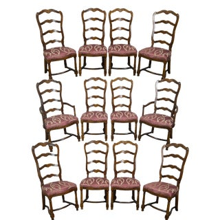 Vintage Century French Country Oak Ladder Back Dining Chairs - Set of 12