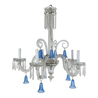 1960s Blue Crystal Chandelier For Sale