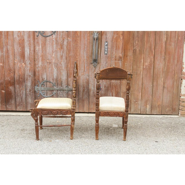 Paired Anglo Indian Peacock Chairs For Sale - Image 9 of 11