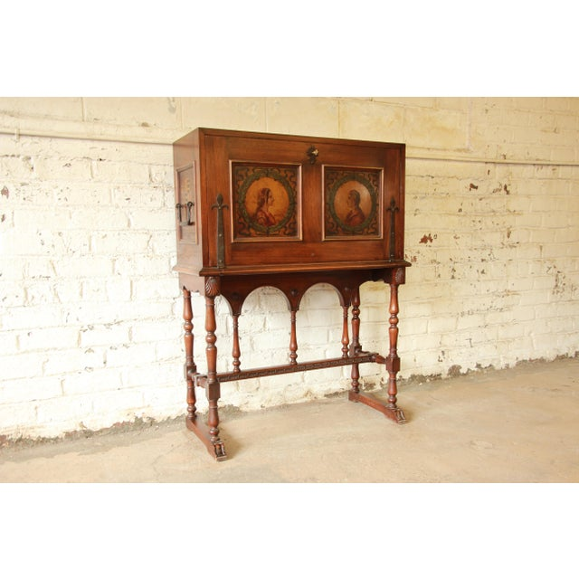 English Traditional Antique English Hand Painted Drop-Front Desk For Sale -  Image 3 of - Antique English Hand Painted Drop-Front Desk Chairish