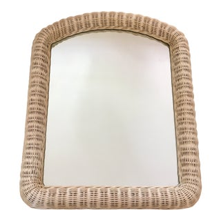 1970s Boho Chic Wood Wicker Wall Mirror