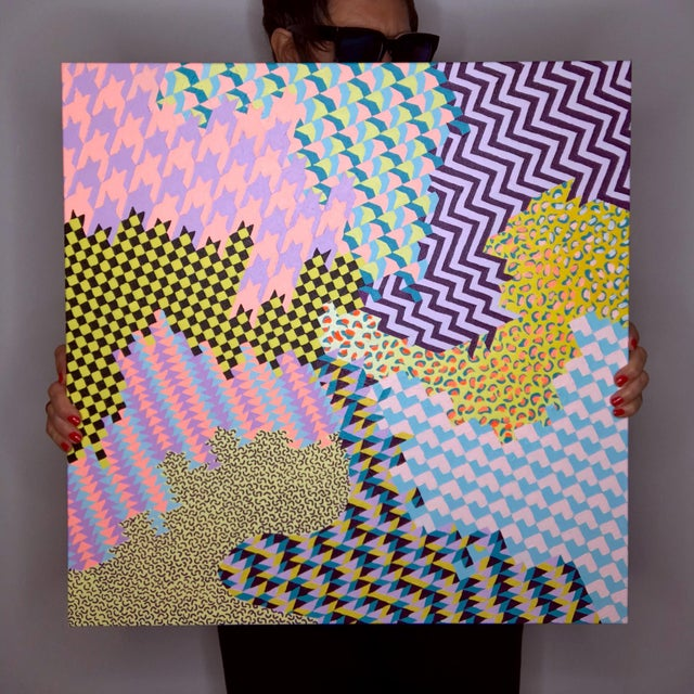 I love painting bright geometric patterns. My paintings bring together various patterns to create wonderful, clashing eye...