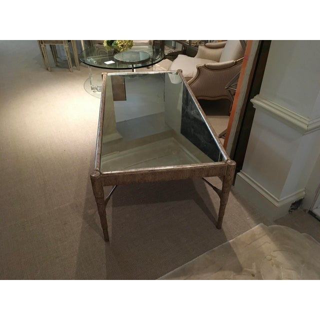 Modern Mid-Century Cocktail Table with Antique Silver Finish and Mirrored Top For Sale - Image 3 of 7