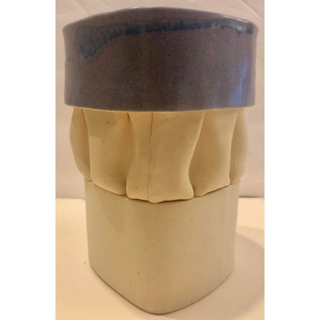 Ceramic Cream & Purple Artistic Vase/Signed For Sale - Image 7 of 7