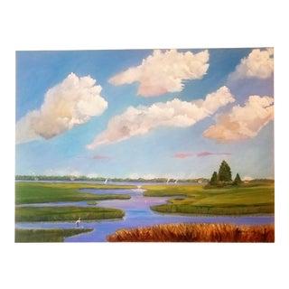 """ Barnstable Marsh Egret"" Oil Painting by Christine Frisbee"
