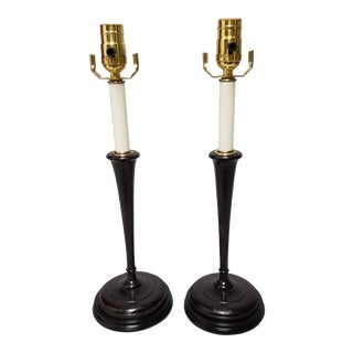 19th Century Turned Wood Candlestick Lamps - A Pair For Sale