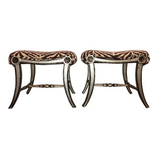 Hollywood Regency Silver Gilt Zebra Benches - a Pair For Sale