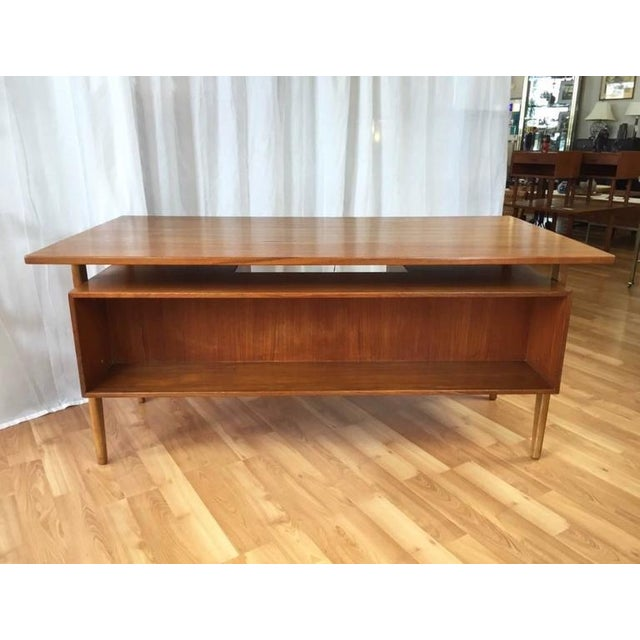 Gold Teak & Oak Floating Top Executive Desk For Sale - Image 8 of 10