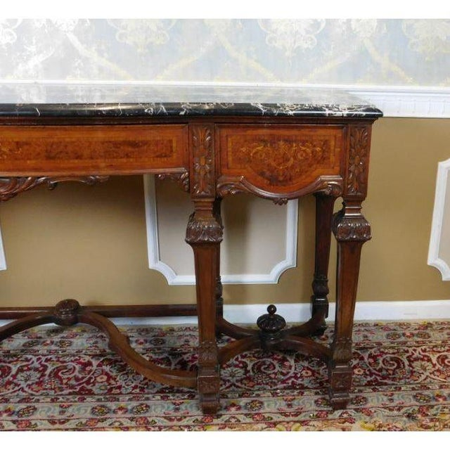 Italian Rococo Carved Mahogany Marble Top Console - Image 5 of 10