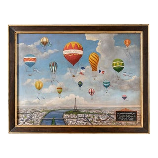 Painting of Balloons Over Paris For Sale