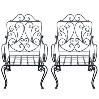 1970s Vintage J.C. Moreux Style Iron French Armchairs- A Pair For Sale