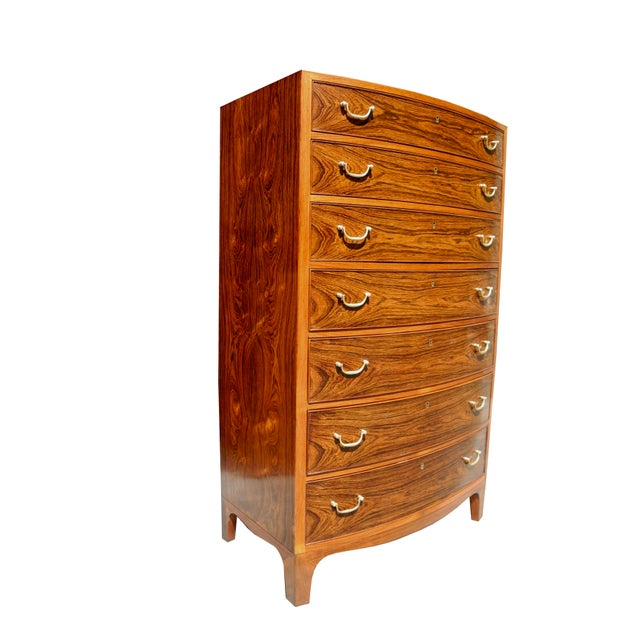 Brown Danish Modern Tall Rosewood Bombe Dresser / Gentleman's Chest by Ole Wanscher For Sale - Image 8 of 12