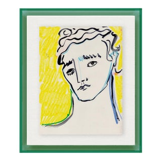 Portrait by Luke Edward Hall in Dark Green Acrylic Shadowbox, Small Art Print For Sale