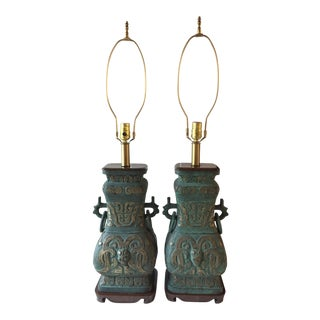 1960s Mid Century Asian James Mont Style Brass and Wood Lamps - a Pair For Sale