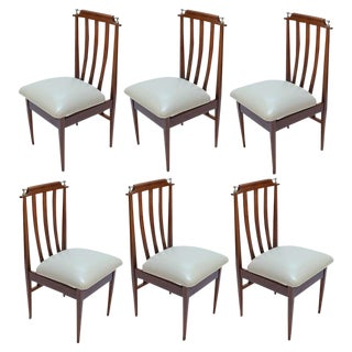 1960s Argentinian Dining Chairs With Chrome Details - Set of 6 For Sale