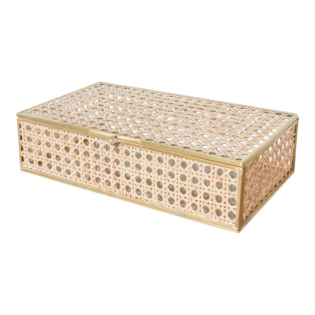 Anaya Natural Cane Wicker Jewelry Decor Box - Large For Sale