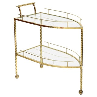 Hollywood Regency Style, Boat-Shaped, Polished Brass Bar Cart, Italy, 1960s