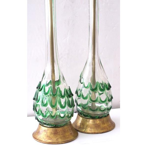 A Pair of Murano Clear Bottle Form Lamps w/Raised Green Swirls - Image 1 of 3