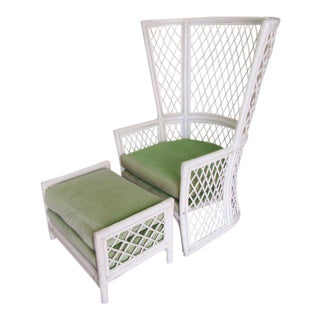 Ficks Reed Diamond Pattern Chair & Ottoman For Sale