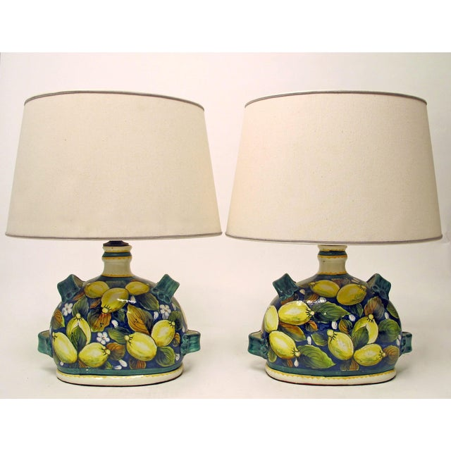 Italian faience pottery lemon lamps a pair chairish italian faience pottery lemon lamps a pair image 2 of 5 aloadofball Image collections