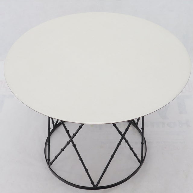Mid-Century Modern Enameled Top Faux Bamboo Base Mid-Century Modern Dining Dinette Table For Sale - Image 3 of 11