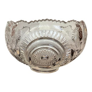 Vintage E. Smith Heavy Clear Cut Glass Reproduction Bowl For Sale