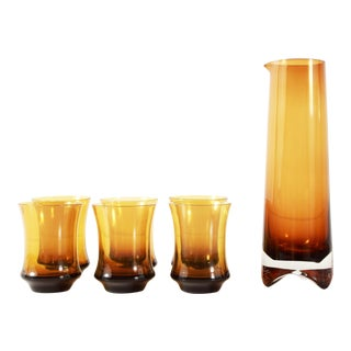 Mid Century Scandinavian Milnor Sweden Topaz Brown Crystal Cubist Decanter & Glasses - Set of 7 For Sale