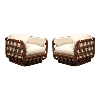 Fantastic Pair of Vintage Rattan Basket Loungers by Danny Ho Fong