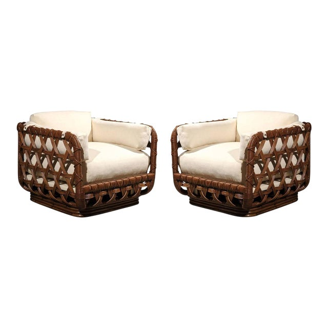 Fantastic Pair of Vintage Rattan Basket Loungers by Danny Ho Fong For Sale