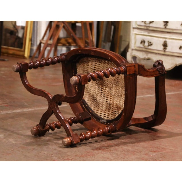 19th Century French Louis XIII Carved Oak Barley Twist and Caning Desk Armchair For Sale - Image 11 of 12