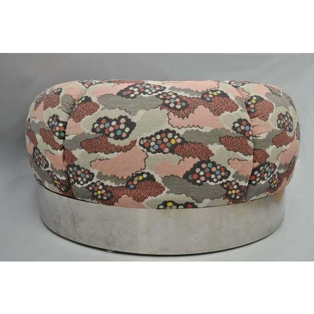 Mid-Century Modern Mid Century Modern Round Pink Tufted Chrome Base Souffle Pouf Ottoman For Sale - Image 3 of 9
